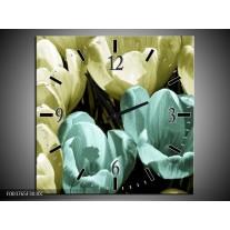 Wandklok op Canvas Krokus | Kleur: Blauw, Zwart, Groen | F003765C