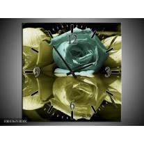 Wandklok op Canvas Roos | Kleur: Blauw, Zwart, Groen | F003767C