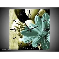 Wandklok op Canvas Bloem | Kleur: Blauw, Zwart, Groen | F003769C