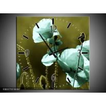Wandklok op Canvas Klaproos | Kleur: Blauw, Zwart, Groen | F003771C