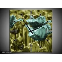 Wandklok op Canvas Tulp | Kleur: Blauw, Zwart, Groen | F003772C