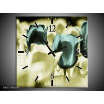 Wandklok op Canvas Tulp | Kleur: Blauw, Zwart, Groen | F003774C