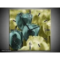 Wandklok op Canvas Tulp | Kleur: Blauw, Zwart, Groen | F003775C