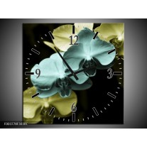 Wandklok op Canvas Orchidee   Kleur: Blauw, Zwart, Groen   F003778C