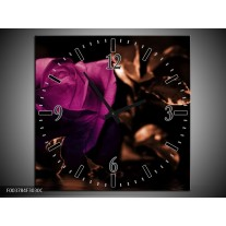 Wandklok op Canvas Roos | Kleur: Paars, Bruin, Wit | F003784C