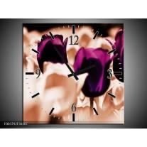 Wandklok op Canvas Tulp | Kleur: Paars, Bruin, Wit | F003792C