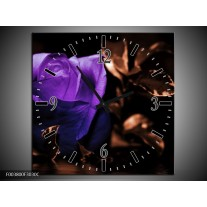 Wandklok op Canvas Roos   Kleur: Paars, Bruin, Wit   F003800C
