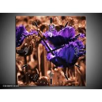 Wandklok op Canvas Tulp | Kleur: Paars, Bruin, Wit | F003809C