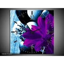 Wandklok op Canvas Bloem   Kleur: Paars, Blauw, Wit   F003817C