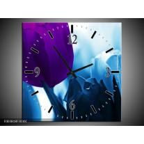 Wandklok op Canvas Tulp   Kleur: Paars, Blauw, Wit   F003818C