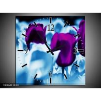 Wandklok op Canvas Tulp | Kleur: Paars, Blauw, Wit | F003820C
