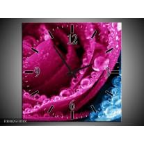 Wandklok op Canvas Roos | Kleur: Roze, Blauw | F003825C