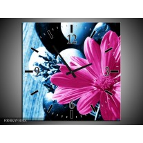 Wandklok op Canvas Roos | Kleur: Roze, Blauw | F003827C
