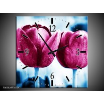 Wandklok op Canvas Tulp | Kleur: Roze, Blauw | F003828C