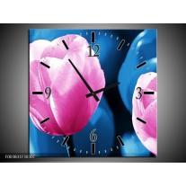 Wandklok op Canvas Tulp | Kleur: Roze, Blauw | F003831C