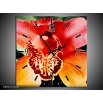 Wandklok op Canvas Iris | Kleur: Oranje, Geel, Groen | F003833C