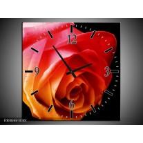 Wandklok op Canvas Roos | Kleur: Oranje, Rood, Zwart | F003836C