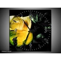 Wandklok op Canvas Roos | Kleur: Geel, Zwart | F003837C