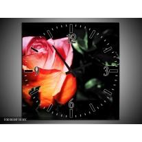 Wandklok op Canvas Roos   Kleur: Roze, Zwart, Oranje   F003838C