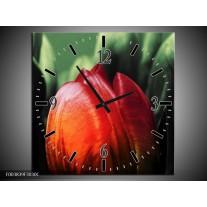 Wandklok op Canvas Tulp | Kleur: Rood, Groen, Zwart | F003839C