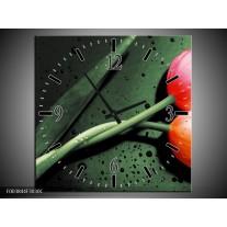Wandklok op Canvas Tulp | Kleur: Groen, Rood, Zwart | F003844C