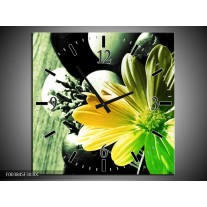 Wandklok op Canvas Bloem   Kleur: Geel, Groen, Zwart   F003845C