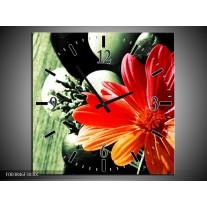 Wandklok op Canvas Bloem | Kleur: Oranje, Groen, Rood | F003846C