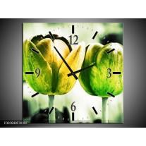 Wandklok op Canvas Tulp | Kleur: Geel, Groen, Wit | F003848C