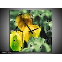 Wandklok op Canvas Tulp | Kleur: Geel, Groen | F003852C