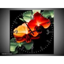 Wandklok op Canvas Orchidee | Kleur: Rood, Groen, Zwart | F003855C