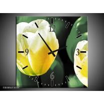 Wandklok op Canvas Tulp | Kleur: Geel, Groen, Wit | F003856C