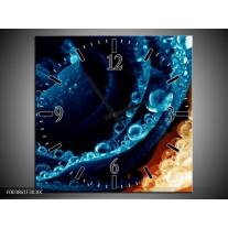 Wandklok op Canvas Roos | Kleur: Blauw, Oranje | F003861C