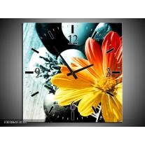 Wandklok op Canvas Bloem | Kleur: Geel, Oranje, Blauw | F003864C