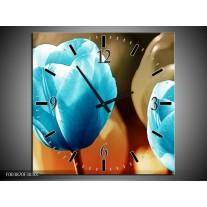 Wandklok op Canvas Tulp | Kleur: Blauw, Oranje, Bruin | F003870C