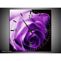 Wandklok op Canvas Roos | Kleur: Paars, Wit, Zwart | F003875C