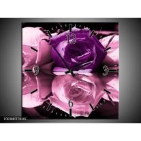 Wandklok op Canvas Roos | Kleur: Paars, Wit, Zwart | F003885C