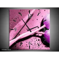 Wandklok op Canvas Tulp   Kleur: Paars, Wit, Zwart   F003886C