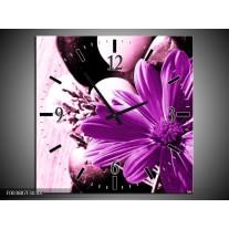 Wandklok op Canvas Bloem | Kleur: Paars, Wit, Zwart | F003887C