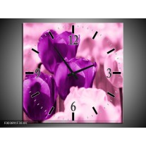 Wandklok op Canvas Tulp | Kleur: Paars, Wit, Zwart | F003891C