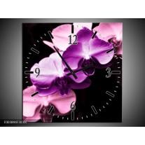 Wandklok op Canvas Orchidee | Kleur: Paars, Wit, Zwart | F003894C