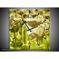 Wandklok op Canvas Tulp | Kleur: Groen, Grijs | F003903C