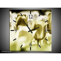 Wandklok op Canvas Tulp | Kleur: Groen, Grijs | F003904C