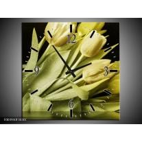 Wandklok op Canvas Tulp | Kleur: Groen, Grijs | F003910C