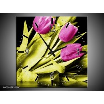 Wandklok op Canvas Tulp | Kleur: Paars, Groen, Zwart | F003913C