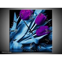 Wandklok op Canvas Tulp | Kleur: Paars, Blauw, Zwart | F003915C