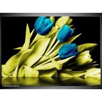 Foto canvas schilderij Tulp | Blauw, Groen, Zwart