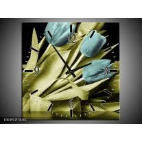 Wandklok op Canvas Tulp | Kleur: Blauw, Groen, Zwart | F003917C
