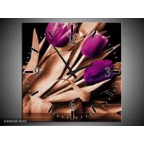Wandklok op Canvas Tulp | Kleur: Bruin, Paars, Zwart | F003918C