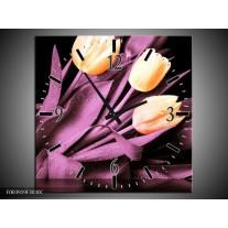 Wandklok op Canvas Tulp | Kleur: Oranje, Paars, Zwart | F003919C