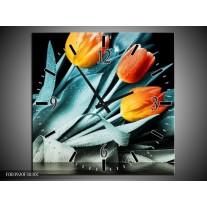 Wandklok op Canvas Tulp | Kleur: Oranje, Blauw, Zwart | F003920C